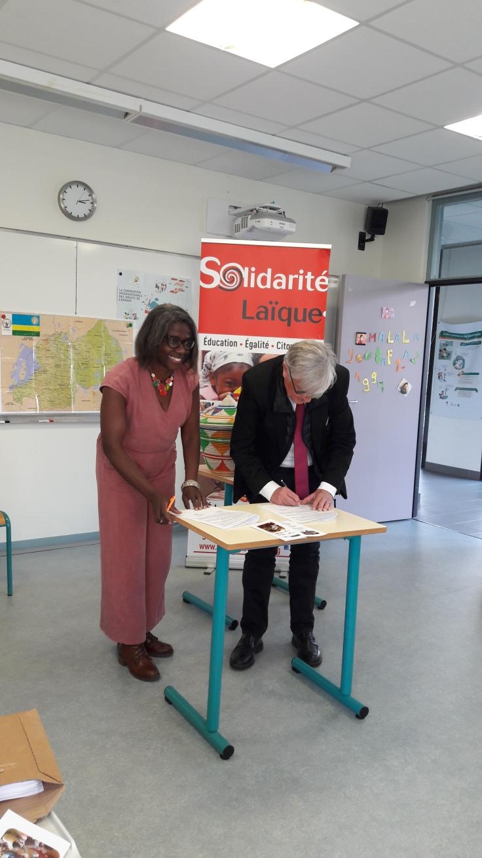 PEPA - Signature de la convention de partenariat entre Solidarité Laïque et Ubuntu